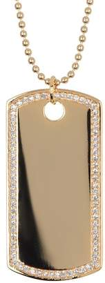 Argentovivo 18K Gold Plated Sterling Silver Pave Dog Tag Pendant Necklace