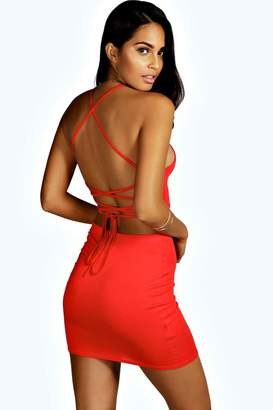 boohoo Rhiannon Strappy Back Mini Dress