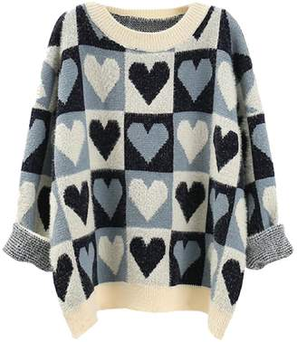 Goodnight Macaroon 'Fiona' Heart Pattern Oversized Sweater (2 Colors)