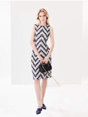 Oscar de la Renta Chevron Checked Tweed Pencil Dress