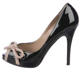 Valentino Patent Leather Peep-Toe Pumps