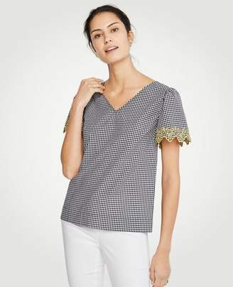 Ann Taylor Gingham Embroidered Sleeve Tee