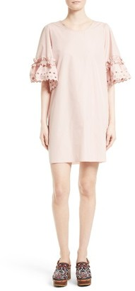Women's See By Chloe Ruffle Eyelet Sleeve Shift Dress $365 thestylecure.com