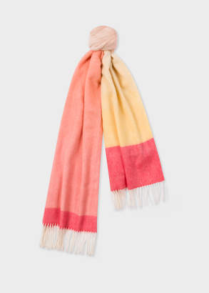 Paul Smith Women's Pink And Yellow Ombre Lambswool And Cashmere Scarf