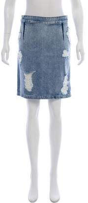 IRO Distressed Denim Mini Skirt