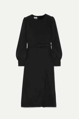 Co Belted Crepe Midi Dress - Black