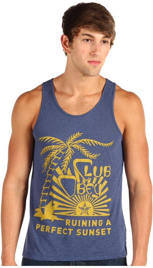 Obey Perfect Sunset Nubby Tank Top (Dark Denim) - Apparel