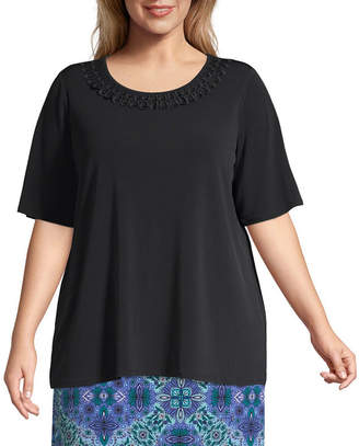 East Fifth East 5th Short Sleeve Scoop Neck Trim Tee - Plus