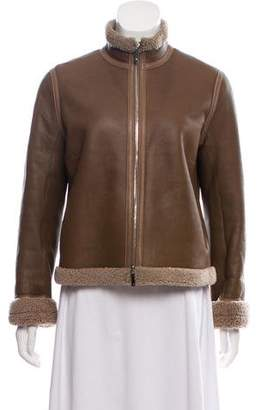 The Row Shearling Zip Front Jacket