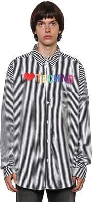 Balenciaga I Love Techno Stripe Cotton Poplin Shirt