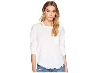 Splendid Seaport Mixed Media Cut Out Neck Long Sleeve Tee Women's T Shirt