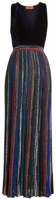 Missoni Dress with Velvet Bustier, Pleated Skirt and Metallic Thread