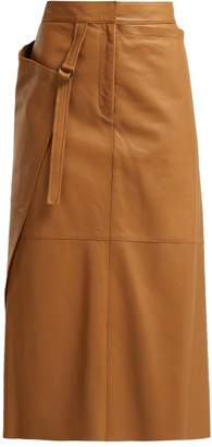 Joseph Beck Wrap Leather Midi Skirt - Womens - Tan