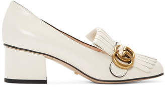 Gucci White GG Marmont Fringed Loafer Heels