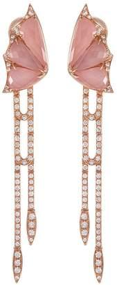 Stephen Webster 'Crystal Haze' diamond crystal 18k rose gold drop earrings