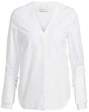 3.1 Phillip Lim Women's Faux-Pearl Trim Cotton Shirt - Size 0