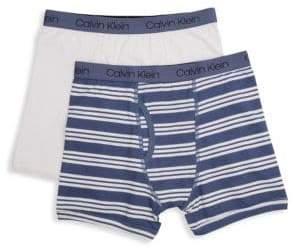 Calvin Klein Boy's Stripe Stretch Cotton Boxer Briefs/Pack of 2