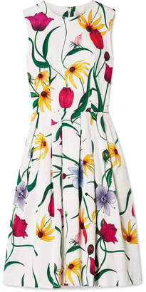 Carolina Herrera Pleated Floral-print Cotton-blend Faille Dress - White