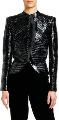 Giorgio Armani Patent Leather Plisse Zip-Front Jacket