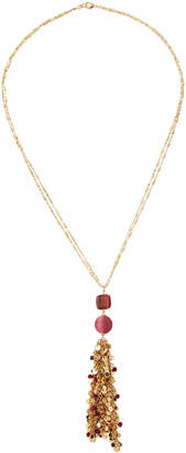 Lydell NYC Long Tassel Pendant Necklace, Pink