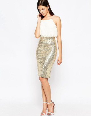 Club L Cami Midi Dress with Sequin Skirt $48 thestylecure.com