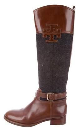 Tory Burch Felt & Leather Knee-High Boots