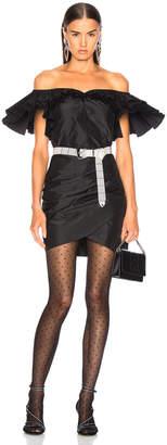 Alessandra Rich Silk Taffeta Butterfly Dress in Black | FWRD