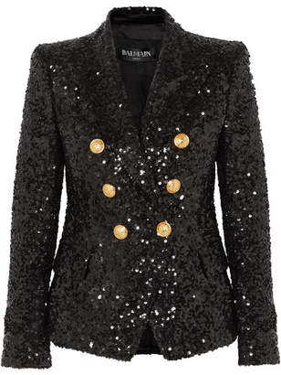 Balmain Double-breasted Sequinned Chiffon Blazer - Black