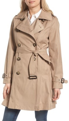 Women's Michael Michael Kors Double Breasted Skirted Trench Coat $180 thestylecure.com