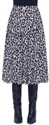 Akris Punto Leopard Print Pleated Wool Skirt