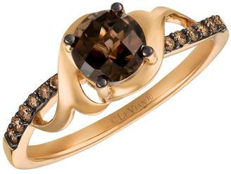 Chocolate By Petite Le Vian 14ct Strawberry Gold Chocolate Quartz and Diamond Ring