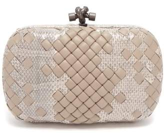 Bottega Veneta Knot leather and watersnake clutch