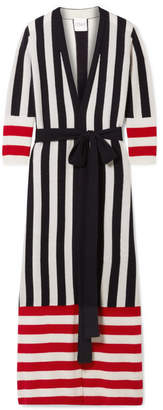 Madeleine Thompson Ophelia Belted Striped Cashmere Cardigan - Black