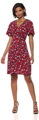 Donna Morgan Women's Jersey Faux Wrap Dress with Flutter Sleeve