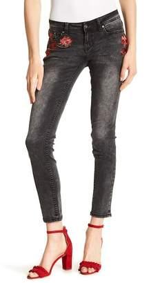 Grace In LA Denim Floral Embroidered Skinny Jeans
