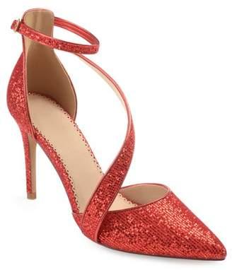Brinley Co. Women's Pointed Toe Asymmetrical Strap Glitter Heels