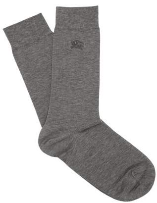 Burberry Logo Embroidered Cotton Blend Socks - Mens - Grey