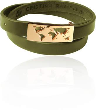 Cristina Ramella World Inspired Jewelry 24K Gold Plated Map Leather Wrap Bracelet