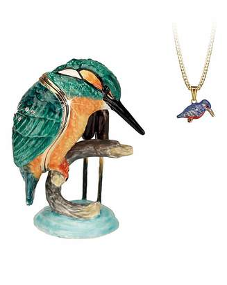 Marisota Kingfisher Trinket Box with Necklace