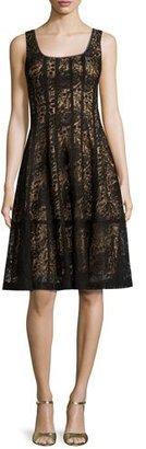Nanette Lepore Sleeveless Paneled Lace Cocktail Dress, Black $498 thestylecure.com