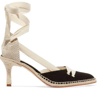 Castaner Manolo Blahnik By Day Canvas And Raffia Pumps - Black