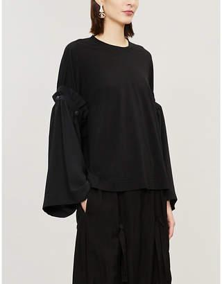 Y's Ys Detachable sleeve cotton-blend top