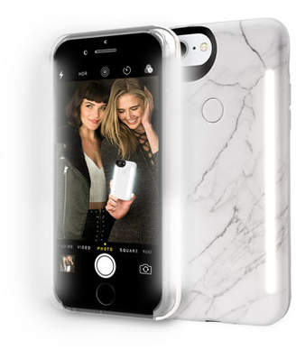 LuMee Limited Edition iPhone 8 Photo-Lighting Duo Case, White Marble