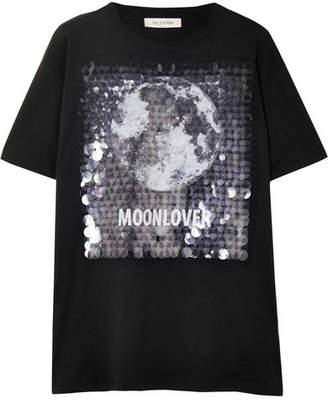 Valentino Embellished Printed Cotton-jersey T-shirt - Black