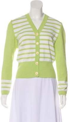 St. John Striped Knit Cardigan Lime Striped Knit Cardigan