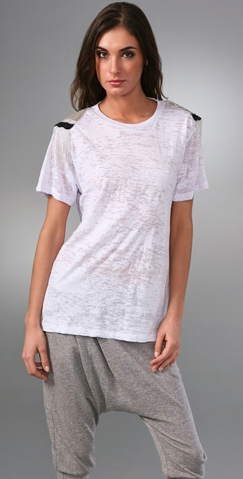 Torn By Ronny Kobo Bianca Tee with Military Shoulders