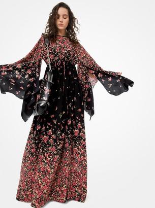 Michael Kors Ombre Floral Silk Crepe De Chine Kimono Dress