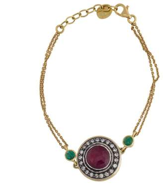 Amrapali 18k Yellow Gold Diamond and Synthetic Ruby Bracelet