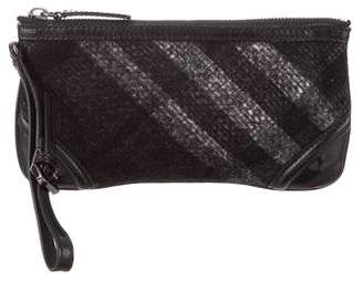 Burberry Leather-Trimmed Beat Check Wristlet