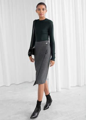 And other stories Wool Blend Herringbone Skirt